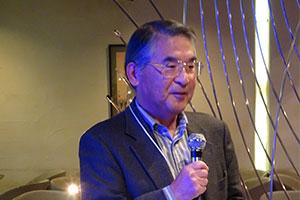 この日進行役を務められた「ゆうごう会関西世話人」関西学院大名誉教授 勝村成雄先生